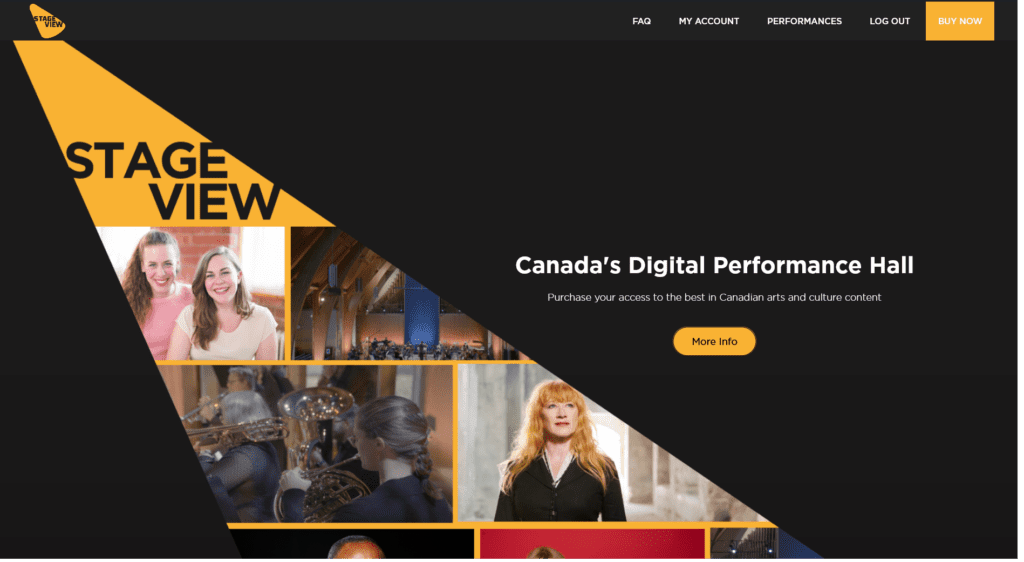 homepage view of stageview site